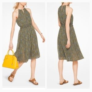 MICHAEL KORS Keyhole Metallic Floral Chiffon Dress